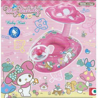(Free Delivery) Sanrio My Melody Inflatable Baby Float Swim Ring Seat with Steering Wheel and Mushroom Canopy Shade