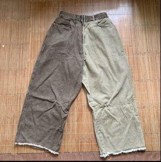 韓國雙色褲腳牛仔褲