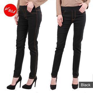 2 Pieces Black Elastic Jeans