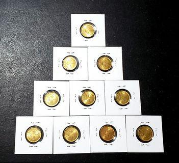 1978年女皇頭大1毫共10枚 原光UNC品相