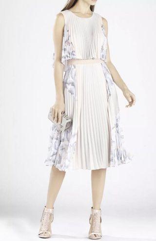 BCBG Jaelyn print-blocked pleated dress - XS