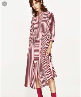 Red striped Zara dress - Size S - Like new!