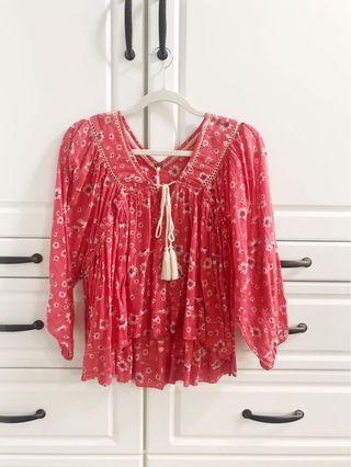 NWOT - Free People floral boho blouse - Size XS - Coral