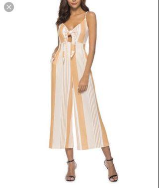 Yellow and white striped cotton jumpsuit - Size XS/S - Like new!