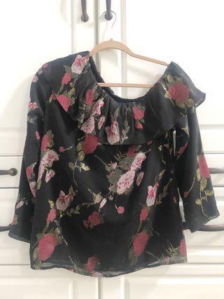 NWOT Club Monaco one shoulder black floral silk blouse - Size XS