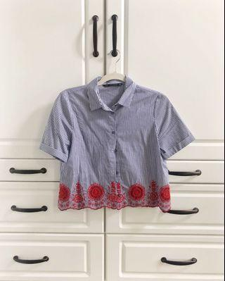 Zara navy striped button down shirt with red embroidery - Size XS - Like new