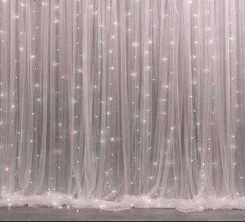Sale 3x3m white veil backdrop curtains fairy lights tutu tulle table skirting table cloth pink blue veil backdrop
