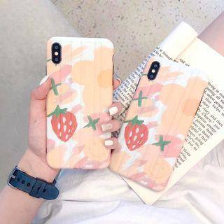 1661粉紅夏日士多啤梨草莓IPHONE手機電話殼 IPHONE6 7 8 X PLUS XS XR XS MAX