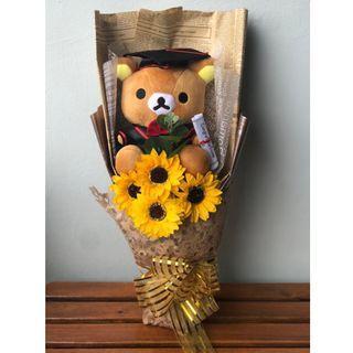 Graduation Bouquet | Soap Sunflower & Rilakkuma Plush Toy