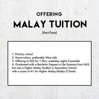 Offering Malay Tuition (Primary school)