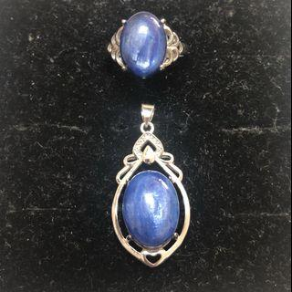 Natural Kyanite pendant and ring set 蓝晶石戒指吊坠套