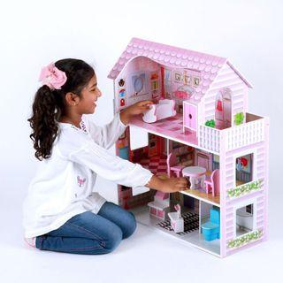 Doll house pretend play wooden doll house toy for girl (295)