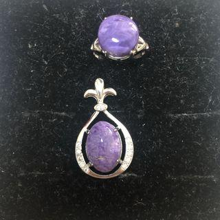Natural Charoite crystal ring & pendant set 紫龙晶戒指吊坠套