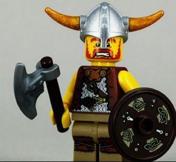 Lego 8804 Series 4 Minifigs Viking 維京戰士 連底板 說明書 包裝袋 (全新開袋確認)