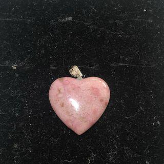 Natural Rhodonite heart pendant 蔷薇辉心吊坠