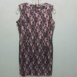 Alexane Pink with Black Lace Overlay Dress L