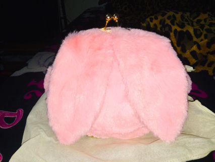 日系💗粉色毛絨兔子🐰兔耳朵珠扣包、手提包👜、鏈條包 側背包、晚宴包、逛街包