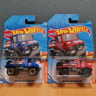 Hot Wheels HW HOT TRUCKS MERCEDES-BENZ UNIMOG 1300 blue & red