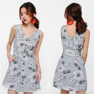 Love Bonito Hegel Tropical Print Button Up Mini Dress (S)