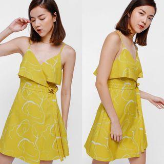 Love Bonito Deshley Printed Layered Sash Tie Dress - Mustard (M)