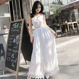 Straight high waist even women's loose spring and autumn fashion temperament Slim white straps hanging wide leg jumpsuit