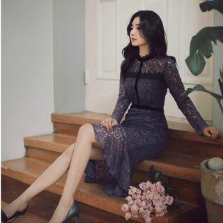 全新轉賣 原價1830 Milkcocoa 正韓 氣質拼接黑色蕾絲小魚尾洋裝 跟Dobe Korea 購買的