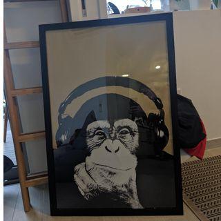 Monkey poster in frame