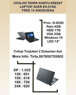 Laptop Acer E5-476G i5 VGA Bisa Cicilan