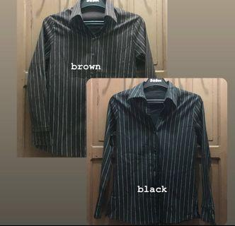 40K get 2 / Black Stripe & Brown Stripe Shirts - Kemeja Garis Warna Hitam & Coklat