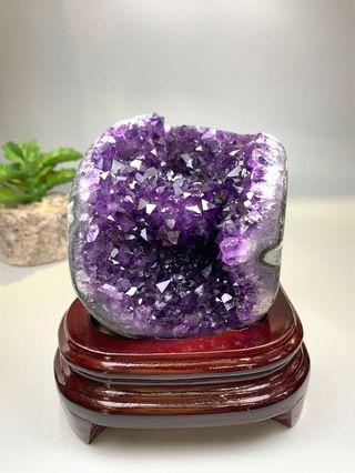 烏拉圭紫晶簇 連木座 天然原礦水晶 一物一圖