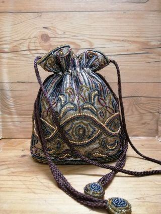 Vintage beads mini bucket porch bag