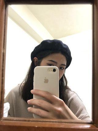 羊毛貝雷帽(黑色)
