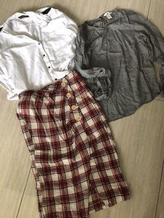 Mixed Ladies Shirts Skirt Zara H&M