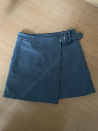 Grey blue belted overlap skirt