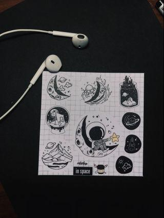"""""""in space"""" stickers"""