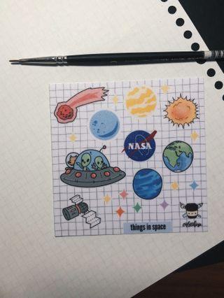 """""""things in space"""" sticker sheet"""