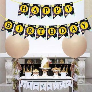 Space theme party supplies - space birthday banner / party deco