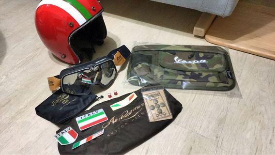 Air Runners復古3/4安全帽 二手8成新 +vespa 手套箱置物袋套組+100%風鏡 全部一口價2500包軌