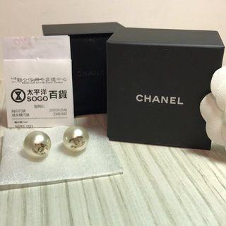 全新-香奈兒Chanel 珍珠耳環