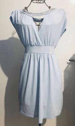 Almost new! Baby blue Dinner Dress with detail #style