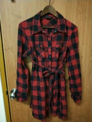 Net黑紅格襯衫外套/洋裝