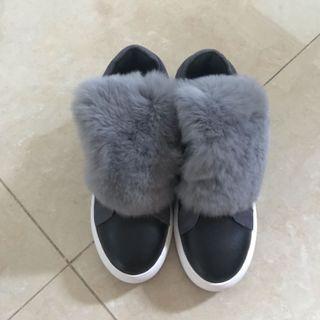 MIU MIU 設計Leather 真皮舒服毛毛 boot