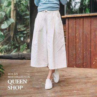 queen shop 白色寬褲