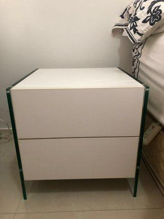 White Wood Glass Bedside Table w/ push to open drawers 白木床头柜
