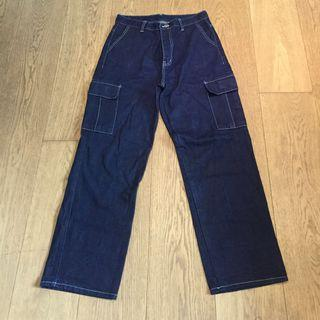 Contrast Stictch Denim Cargo Pants 牛仔工裝闊腳褲