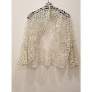 正🇰🇷縷空七分袖針織罩衫 ~ 針織罩衫 (灰色)