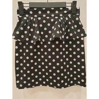 荷葉包臀裙 ~ 點點包臀裙 (黑色)