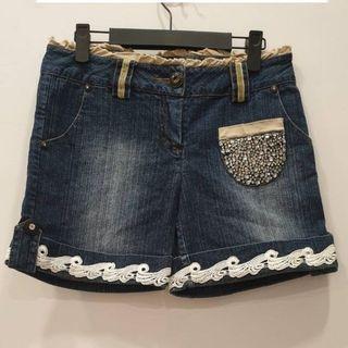 縫珠牛仔短褲