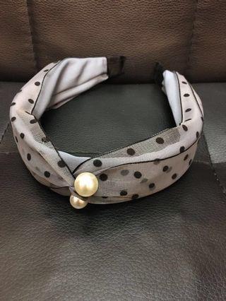🈹️清貨📣 (全新) 韓國款粗頭箍 - 黑波點珍珠