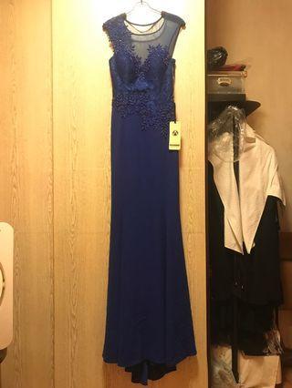 Navy/ Blue long dress 晚裝, Party, Wedding,新娘、結婚!100% New!買入價$1399‼️返日本平售$120‼️超靚cutting!